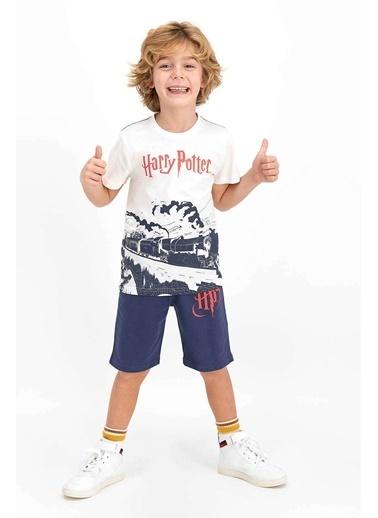 Harry Potter Harry Potter Lisanslı Asfalt Gri Erkek Çocuk Bermuda Takım Ekru